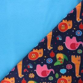 Tissu softshell Savannah love - bleu nuit x 10cm