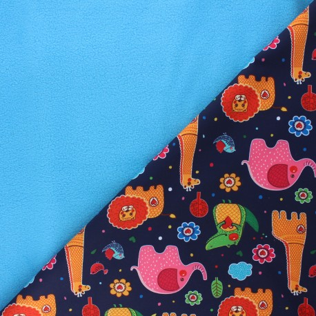 Softshell fabric - night blue Savannah love x 10cm