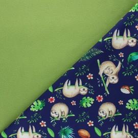 Tissu softshell Sloth dream - bleu nuit x 10cm