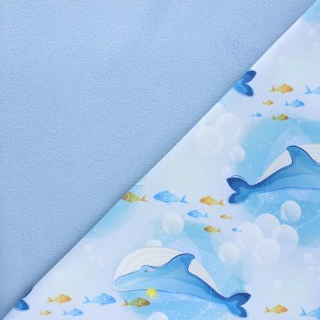 Tissu softshell Queen whale - bleu x 10cm