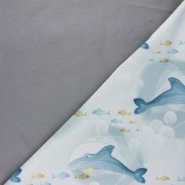 Tissu softshell Queen whale - gris x 10cm