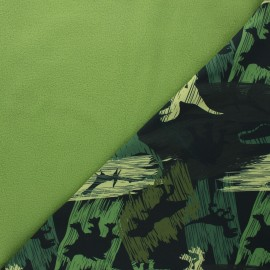 Softshell fabric - pine green Camo dino x 10cm