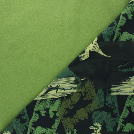 Tissu softshell Camo dino - vert sapin x 10cm
