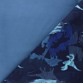 Tissu softshell Camo dino - bleu nuit x 10cm