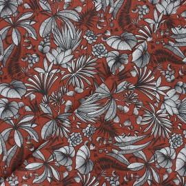 Cretonne cotton fabric - brick red Java x 10cm