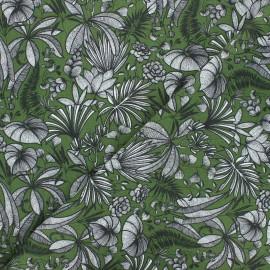 Cretonne cotton fabric - green Java x 10cm