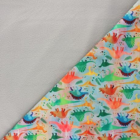 Softshell fabric - grey Dino club x 10cm