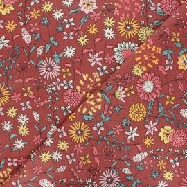 Cretonne cotton fabric - brick red Valentine x 10cm