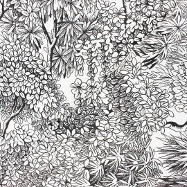 Tissu toile de coton Umbrella trees - blanc x 10cm