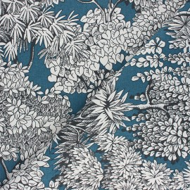 Canvas cotton fabric - peacock blue Umbrella trees x 10cm