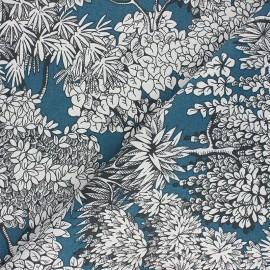 Tissu toile de coton Umbrella trees - bleu paon x 10cm