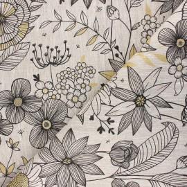 Tissu toile de lin Sweet dandelion - naturel x 10cm