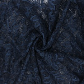 Elastane lace fabric - midnight blue Annie x 10cm