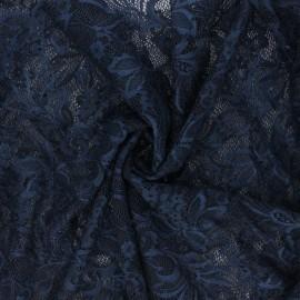 Tissu dentelle élasthanne Annie - bleu nuit x 10cm