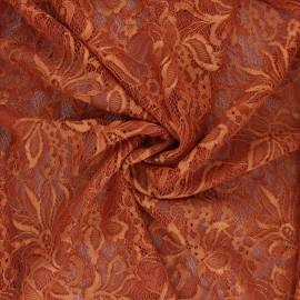 Elastane lace fabric - rust Annie x 10cm