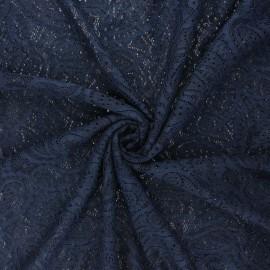 Tissu dentelle élasthanne Luce - bleu nuit x 10cm