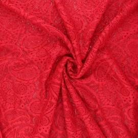 Tissu dentelle élasthanne Luce - rouge passion x 10cm