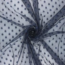 Tissu tulle souple Point d'esprit Maxi Millie - bleu nuit x 10cm