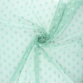 Tissu tulle souple Point d'esprit Maxi Millie - vert sauge x 10cm