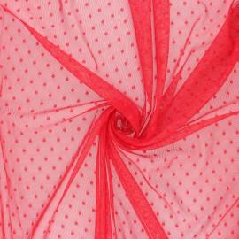 Tissu tulle souple Point d'esprit Millie - Rouge Passion x 10cm