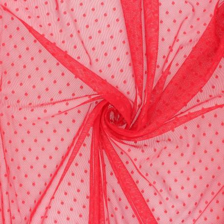 Tulle fabric - Passion red Millie x 10 cm