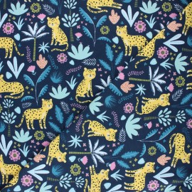 Printed Jersey fabric - night blue Vie tropicale x 10cm