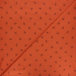 Printed Jersey fabric - rust Swallow dance x 10cm