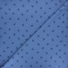 Printed Jersey fabric - swell blue Swallow dance x 10cm