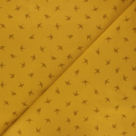 Printed Jersey fabric - mustard yellow Swallow dance x 10cm