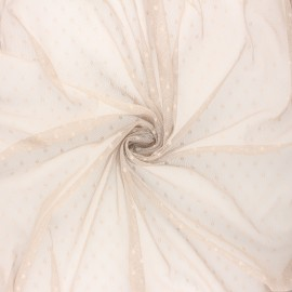 Tissu tulle souple Point d'esprit Millie - gris taupe x 10cm