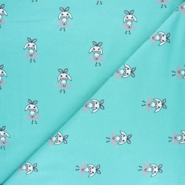 Printed Jersey fabric - celadon Dancing Millie x 10cm