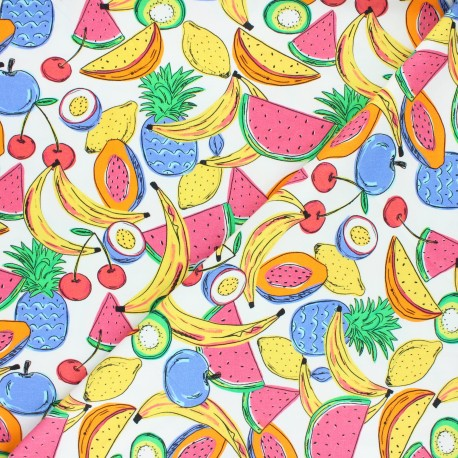 Printed Jersey fabric - white Frugivorus x 10cm