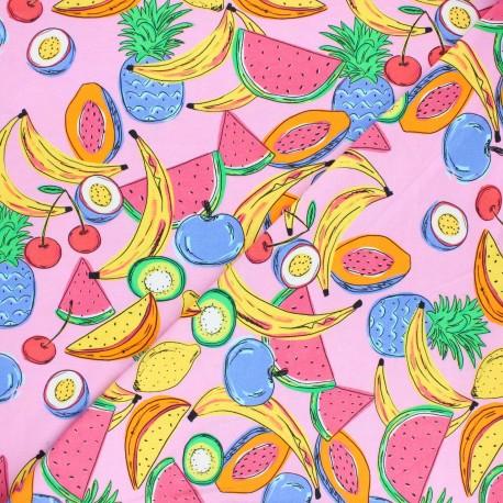 Printed Jersey fabric - pink Frugivorus x 10cm