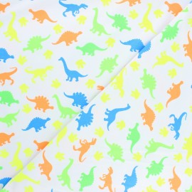 Printed Jersey fabric - light grey Flashy dino x 10cm