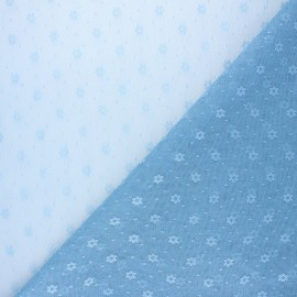 Tulle fabric - light blue Flower x 10 cm