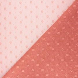 Tissu tulle souple Point d'esprit Flower - rose thé x 10cm