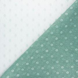 Tissu tulle souple Point d'esprit Flower - vert sauge x 10cm