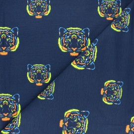 Printed Jersey fabric - night blue Flashy tiger x 10cm