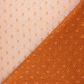 Tissu tulle souple Point d'esprit Flower - roux x 10cm