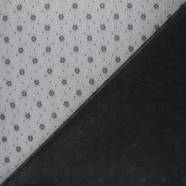 Tissu tulle souple Point d'esprit Flower - noir x 10cm