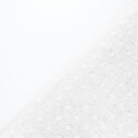 Tissu tulle souple Point d'esprit Flower - gris perle x 10cm