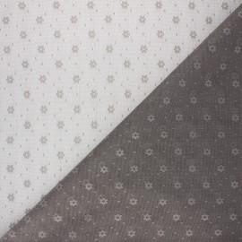 Tissu tulle souple Point d'esprit Flower - gris taupe x 10cm