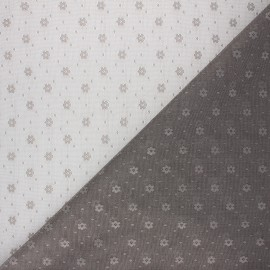 Tulle fabric - taupe grey Flower x 10 cm
