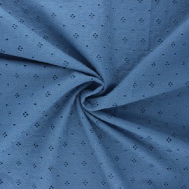 Openwork cotton voile fabric - swell blue Coline x 10cm