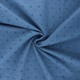 Tissu voile de coton broderie anglaise Coline - bleu houle x 10cm
