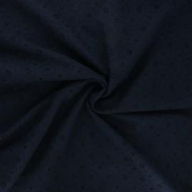Tissu voile de coton broderie anglaise Coline - bleu nuit x 10cm