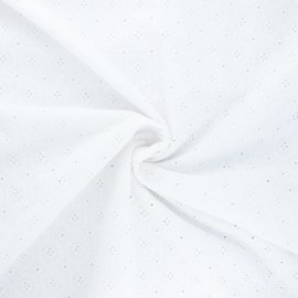 Openwork cotton voile fabric - white Coline x 10cm