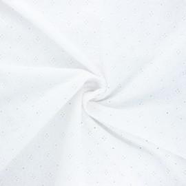 Tissu voile de coton broderie anglaise Coline - blanc x 10cm
