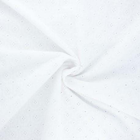 Openwork cotton voile fabric - white Coline x 10cm