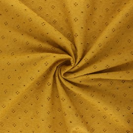 Openwork cotton voile fabric - mustard yellow Coline x 10cm